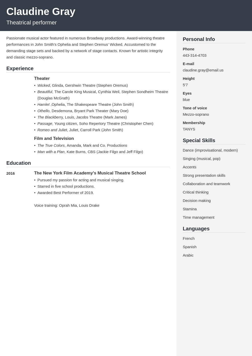 Theater Resume Example Template Cubic Resume Examples Job Resume Examples Resume Template