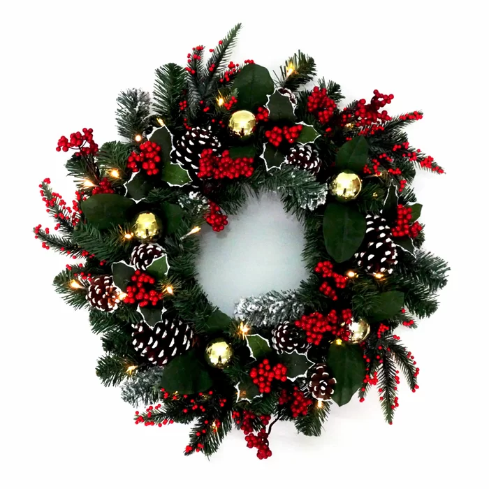 Holly Berry And Pinecone 24 Lighted Wreath Christmas Decorations Wreaths Holiday Wreaths Christmas Real Christmas Wreaths