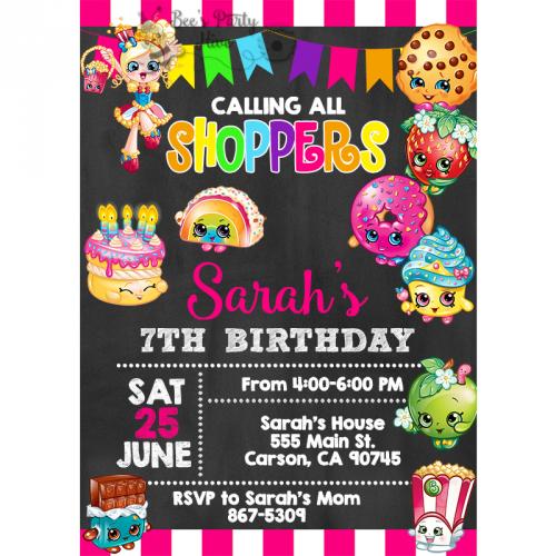 Shopkins Birthday Party Invitations invitaciones Pinterest