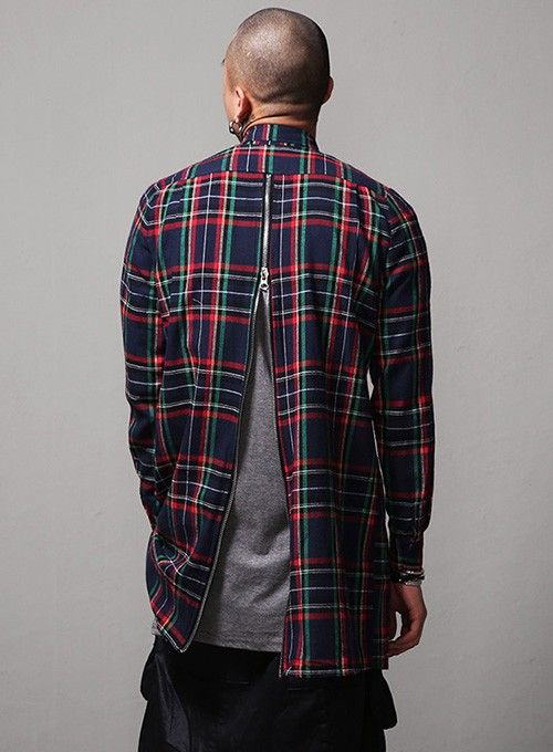 Rear Zipped Overlong Plaid Shirt $36.00  #men #fashion #style #street #shirt #plaid #zip #overlong #navy #red
