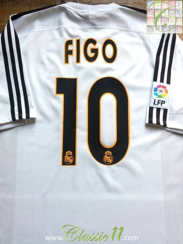 f5035eef6 Relive Luis Figo s 2003 2004 La Liga season with this vintage Adidas Real  Madrid home football shirt.