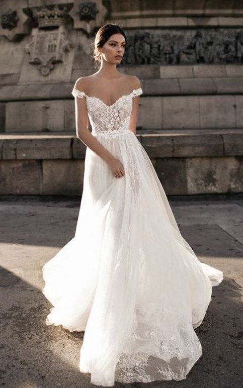 off shoulder long wedding dress sweep train lace Wedding Dress,Simple White Satin Bridal Dress with Appliques wedding dress