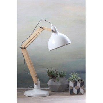 Lampe De Bureau E27 A Poser Blanc Dexter Luminaires