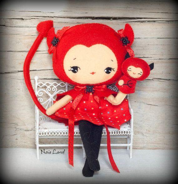 PDF. Devil girl with puppet.Plush Doll Pattern, Softie Pattern, Soft ...