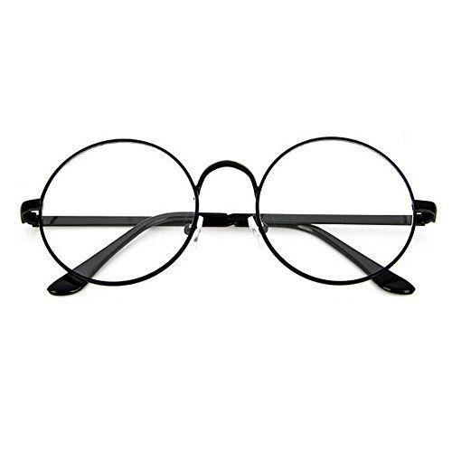 41060ceea1e35 TININNA Unisexe Rétro Rondes Metalique Cadre Frame Lunettes Vintage Verres Transparent  Style Aviateur Pilote Eyeglasses pour