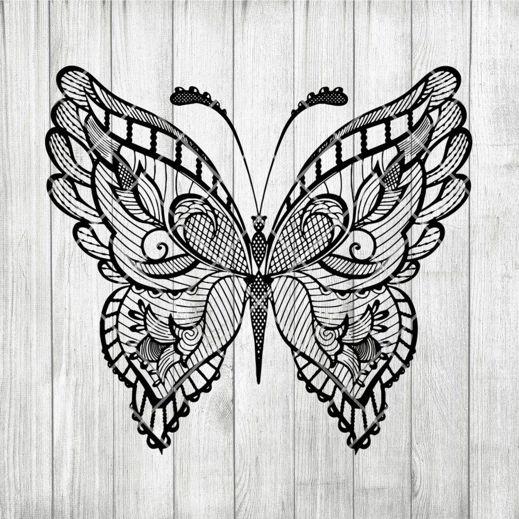 Butterfly Mandala Svg Zentangle Butterfly Svg Intricate Svg File Cricut Design Svg Mandala Animal Mandala Tattoo Butterfly Mandala Mandala