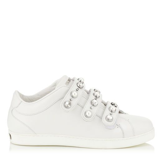 ecc5a4339ae JIMMY CHOO NY White Nappa Leather Trainers with Beads and Crystals.   jimmychoo  shoes