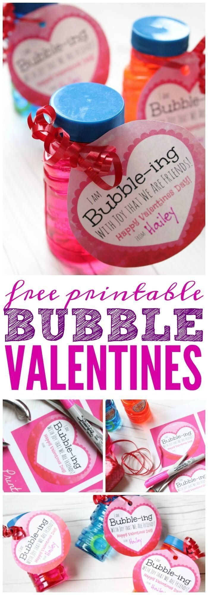 Free Valentines with Bubbles Printable for Kids
