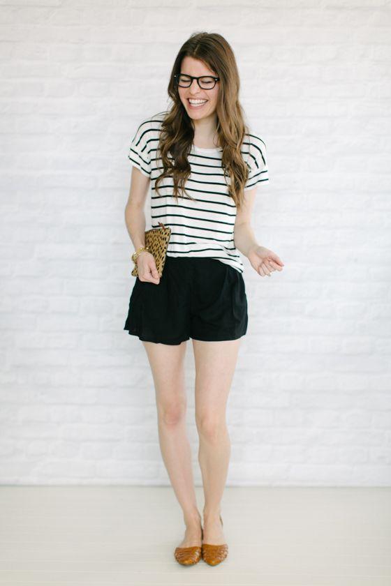 0601e2898d flowy shorts + flats + stripes