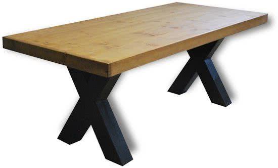 Tafel Zane - 4/6 Persoons - Eettafel - Bruin/zwart - Industrieel ...