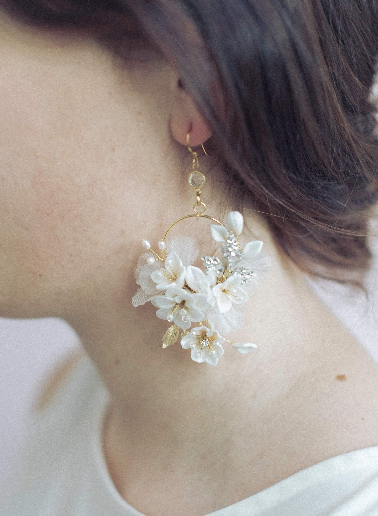 ed06f14fb66f6c Clay flower circle earrings - Creamy blossom and silk flower earrings -  Style #951 | Twigs & Honey ®, LLC