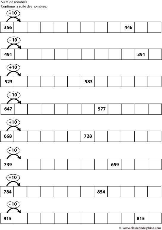 Calcul mental - suite de nombre: ajouter, retrancher 10 ...