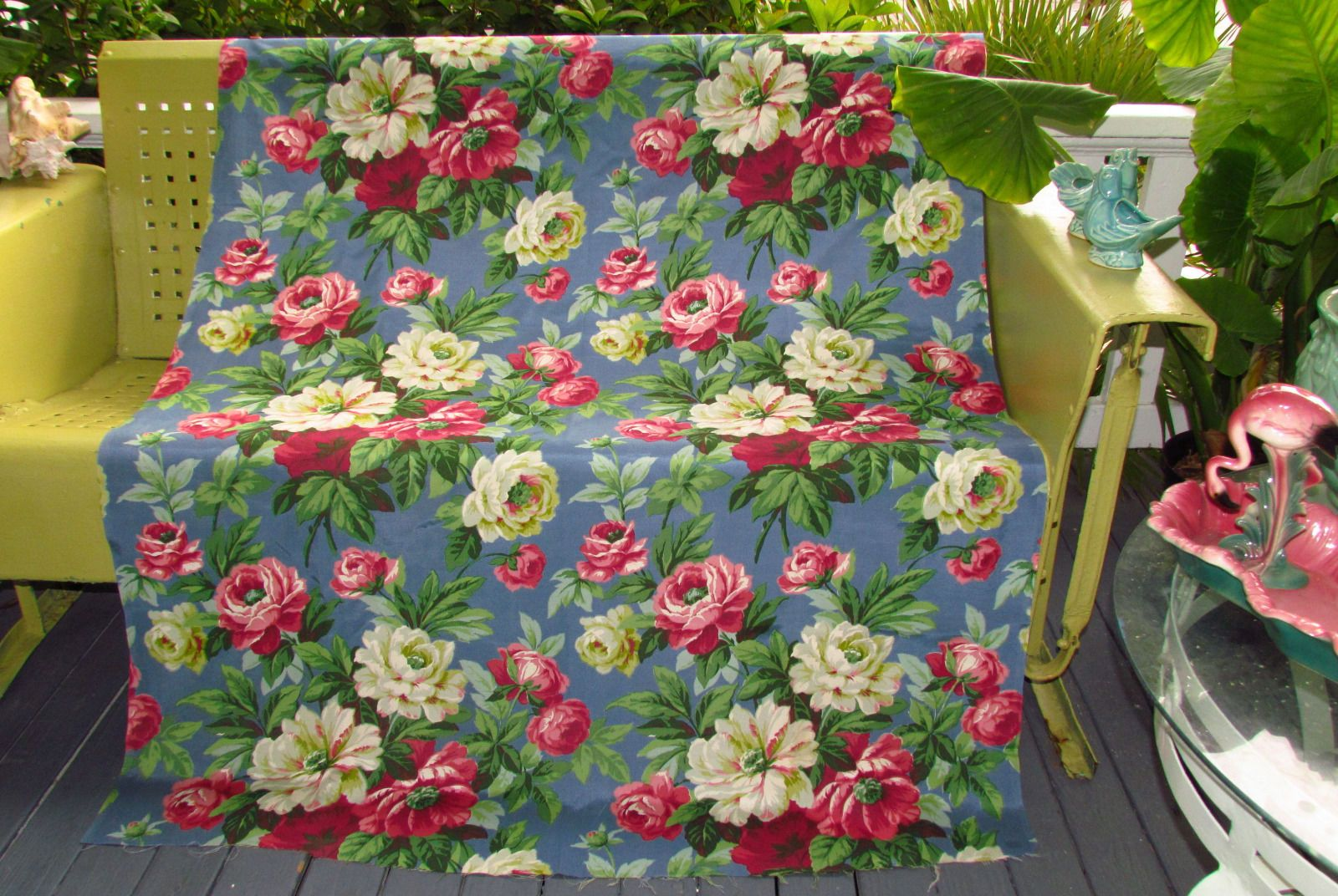 Old Stock Dramatic Cottage Roses on French Cobalt Vtg Barkcloth Faille Fabric…