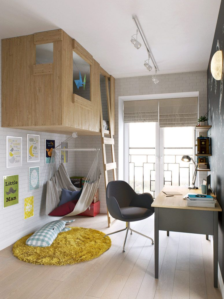 Photo of Modern boy's room with tree house bed