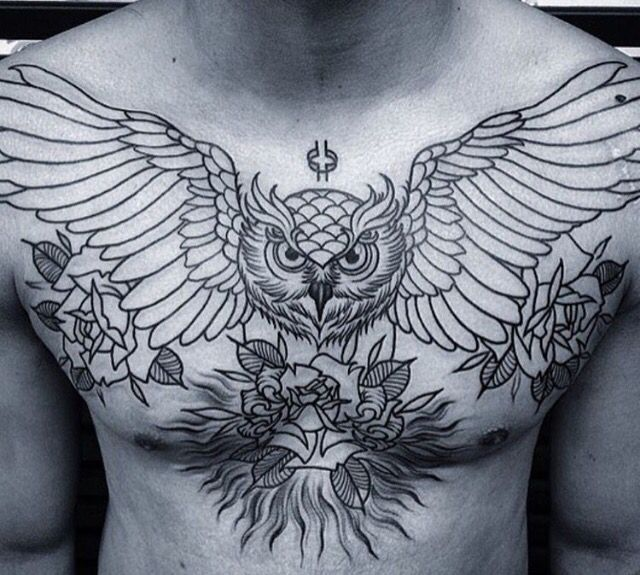 Chest Wide Wings Owl Tattoo Ink Pinterest Owl, Tattoo and Tatoo
