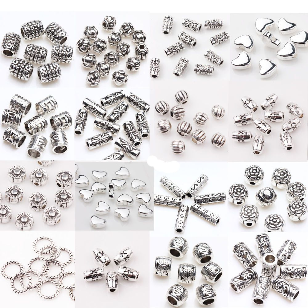 50//100Pcs Silver Plated Carving Tube Loose Spacer Bead Charm DIY Jewelry Finding