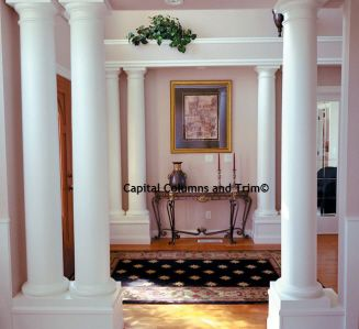 Decorative Round Columns As Accents In A Main Entrance Interior Columns Wood Columns Wood Interiors