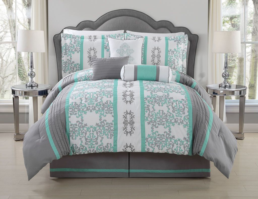 11 Piece King Alieli Gray Mint Bed In A Bag Set Bedding Sets
