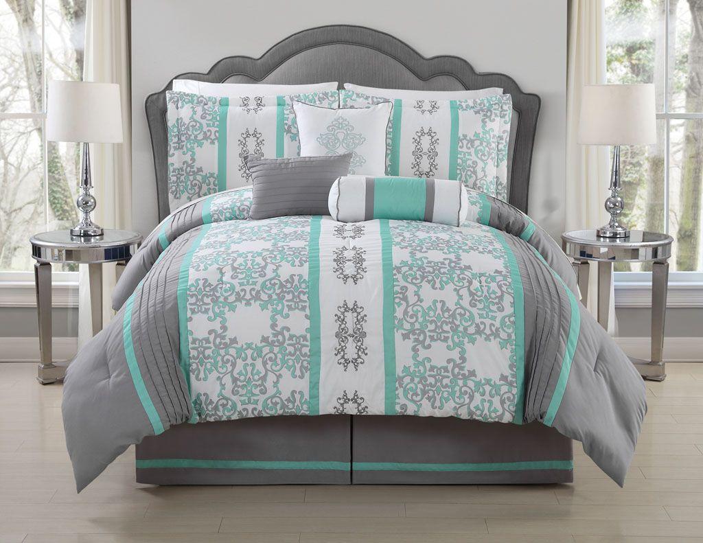 7 Piece Queen Alieli Gray Mint Comforter Set Bedding Sets Teal