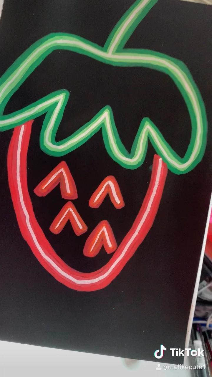 Strawberry Led Neon Video Diy Canvas Art Painting Diy Art Painting Neon Painting