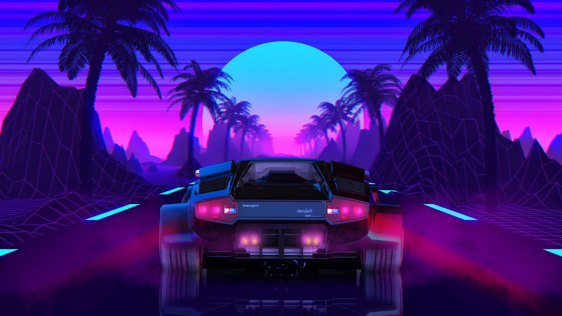 The Sun Lamborghini Background 80s Neon Countach Lamborghini Countach 80 S Synth Retrowave Synthwave N Neon Wallpaper Lamborghini Lamborghini Countach