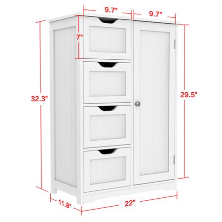 Wooden Bathroom Floor Cabinet Side Storage Organizer Cabinet With 4 Drawers And 1 Cupboard White Walmart Com Bathroom Floor Cabinets Wooden Bathroom Floor Storage
