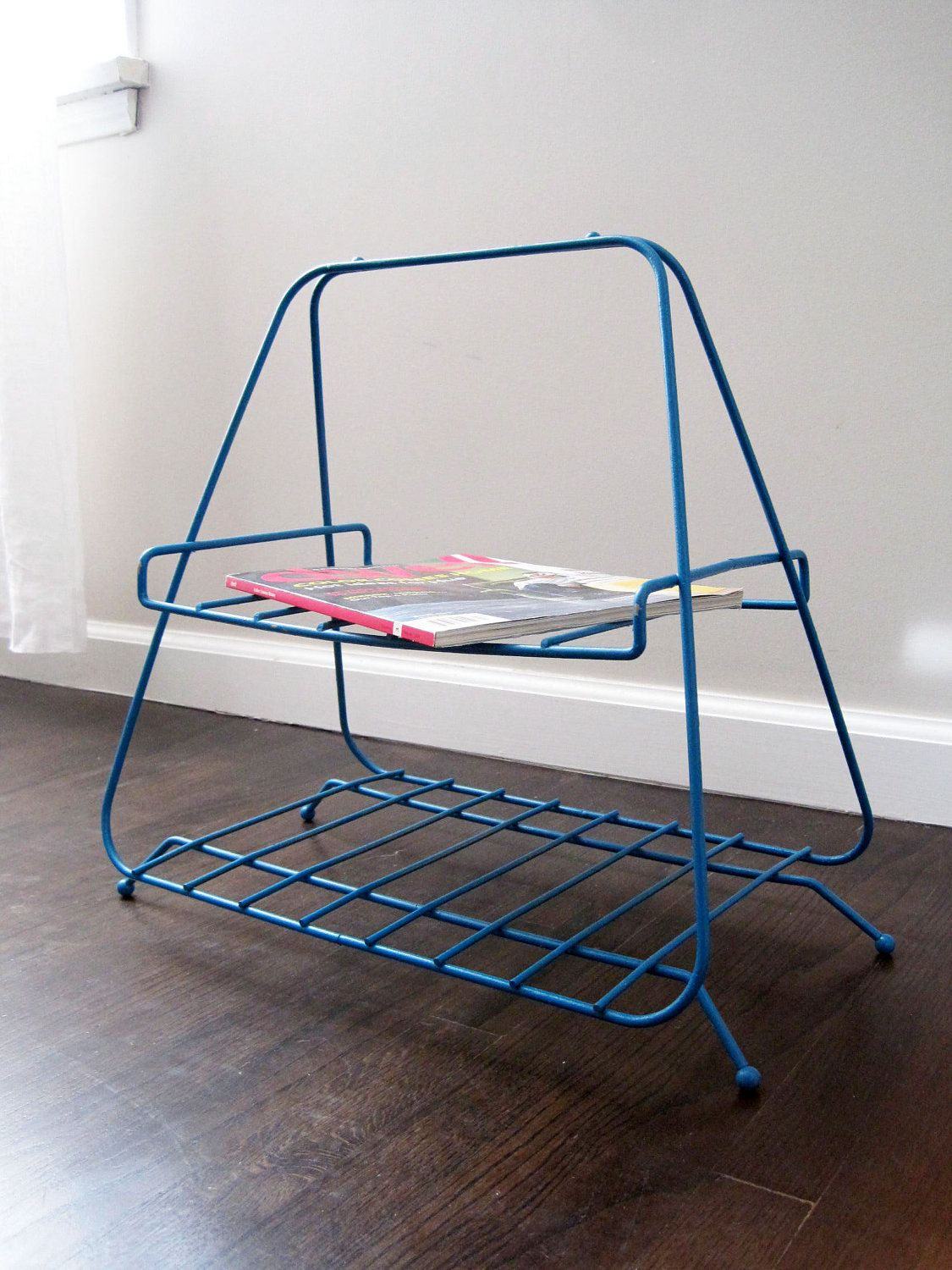 Mid Century Modern Metal 2 Level Magazine Rack Blue