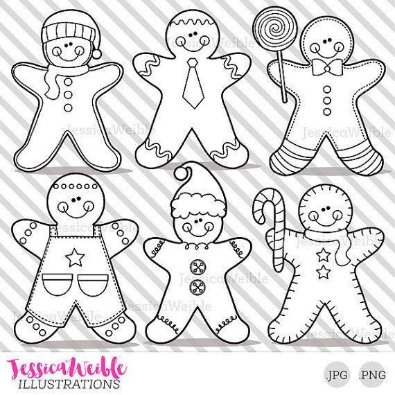 Gingerbread Boys Cute Digital Stamps Gingerbread Blackline Etsy Digital Stamps Free Clip Art Stamp