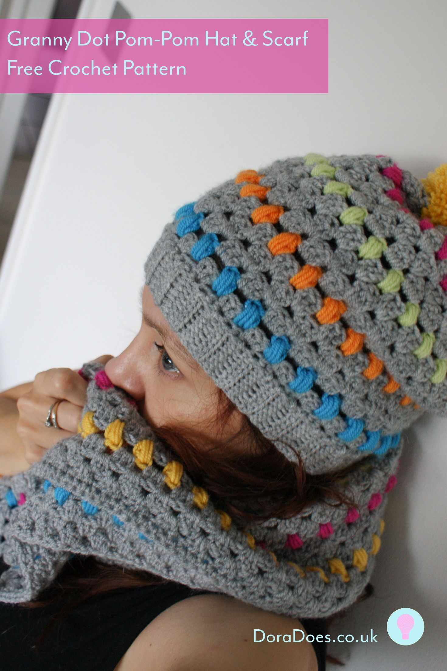 675fcc0e767 The Granny Dot crochet hat and scarf set is a fun