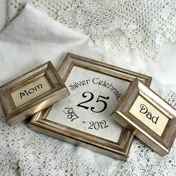 3 Silver Wedding Frames Customizable by mackenzieframes on Etsy, What a great idea for a 25th!