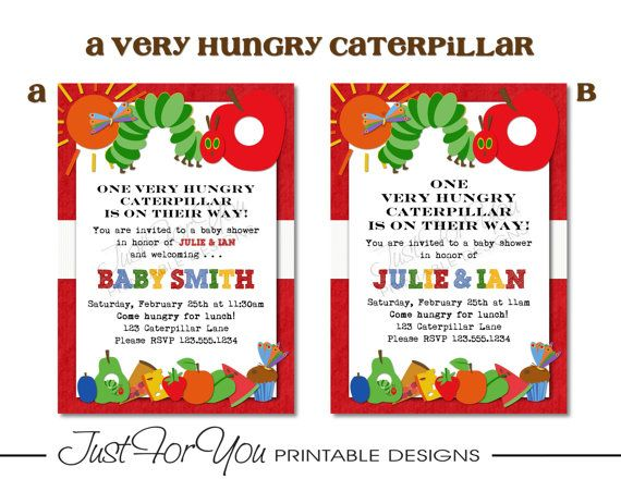 A very hungry caterpillar eric carle inspired printable baby a very hungry caterpillar eric carle inspired printable baby shower invitation you print filmwisefo Choice Image