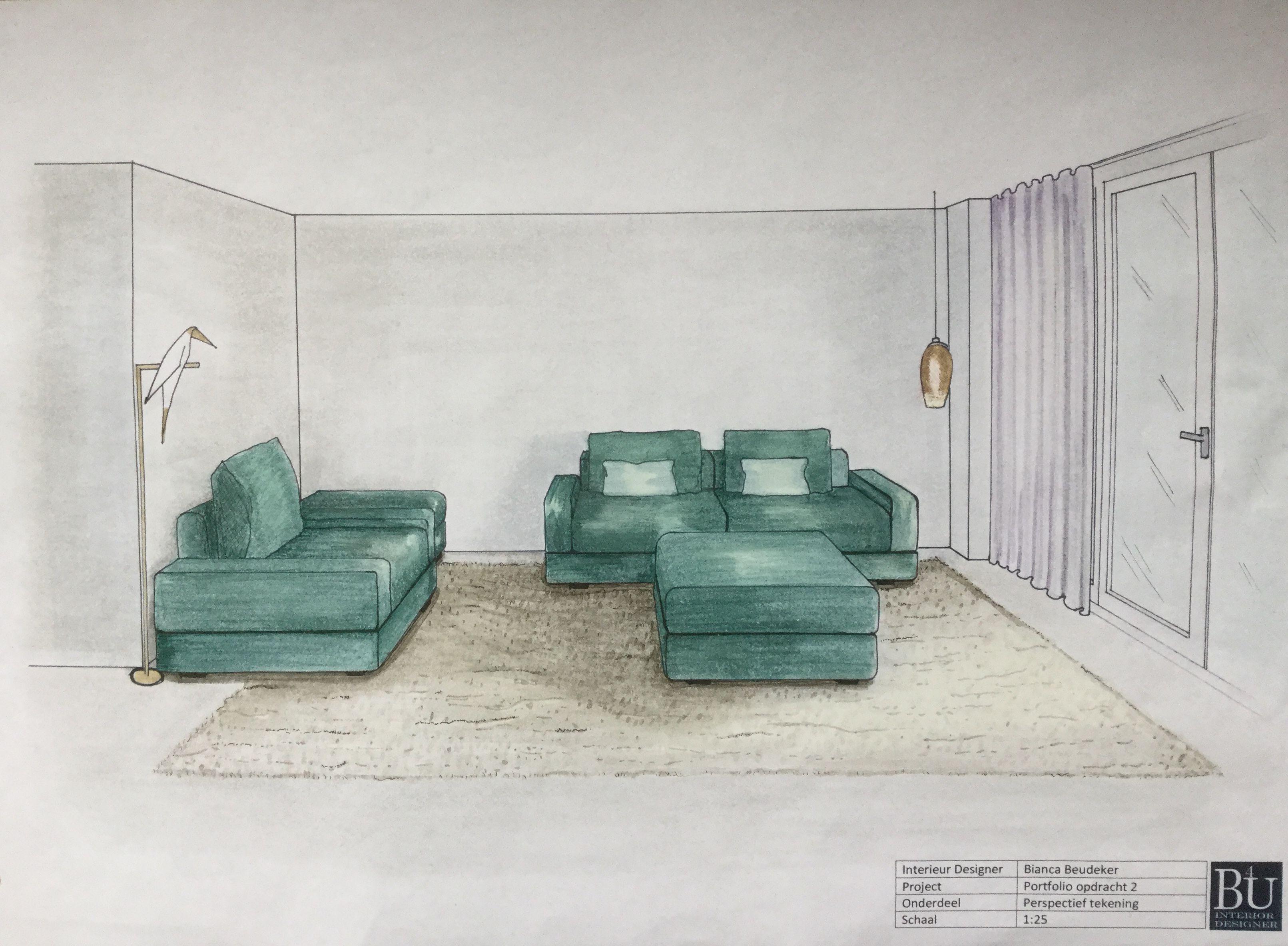 Perspectief tekening woonkamer | Binnenhuisarchitectuur | Pinterest
