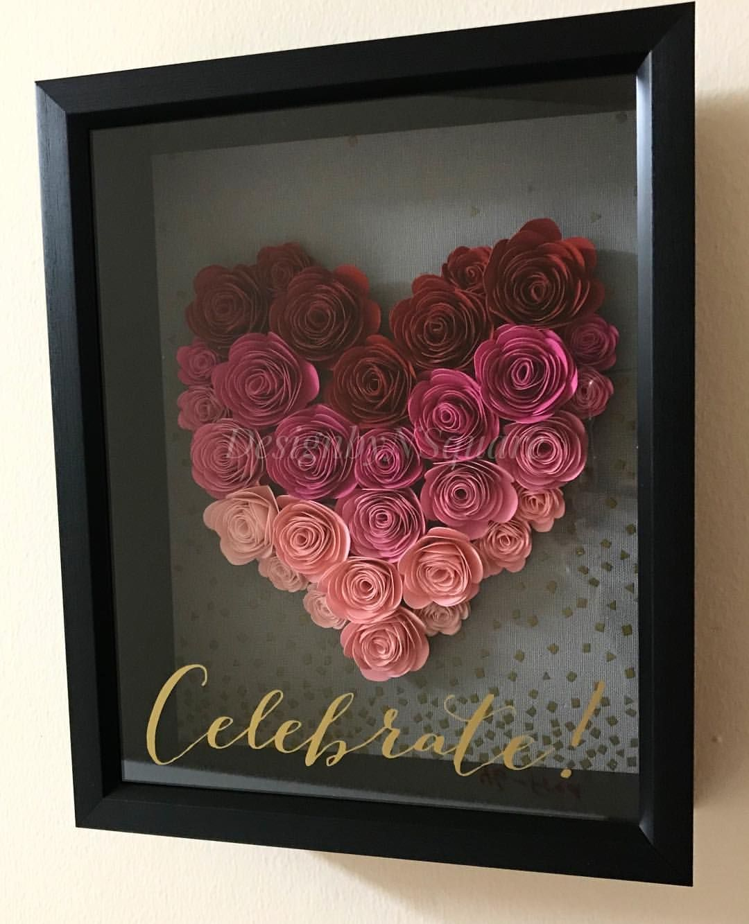 Ready For The Valentine S Day Check Out This Shadow Box Wall Art With Rolled Paper Flower Decor Fo Flower Shadow Box Valentine Paper Crafts Paper Flower Decor