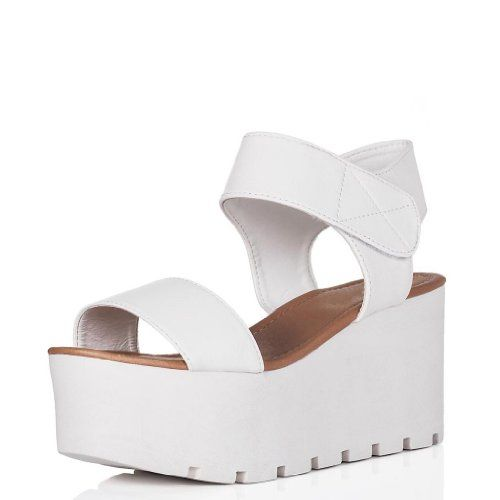 Deal Wedge Heel Velcro Strap Platform Flatform Sandal Shoes White Synthetic Leather Platform Sandals Heels Flatform Sandals White Platform Sandals