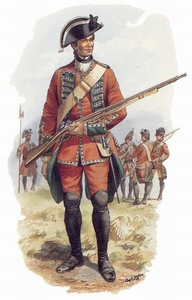 """BRITISH ARMY - Soldier of the 45th Regiment of Foot, c.1763 - """"The 45th Regiment of Foot was one of the British units involved in the retaking of St. John's, Newfoundland after its capture by a French fleet in June 1762. Earlier in the war, the regiment took part in the capture of Fort Beausejour (1755) and the siege of Louisbourg (1758)."""
