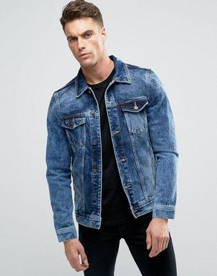 Pull Bear Denim Jacket In Mid Wash Blue Denim Jacket Lined Denim Jacket Light Wash Denim Jacket