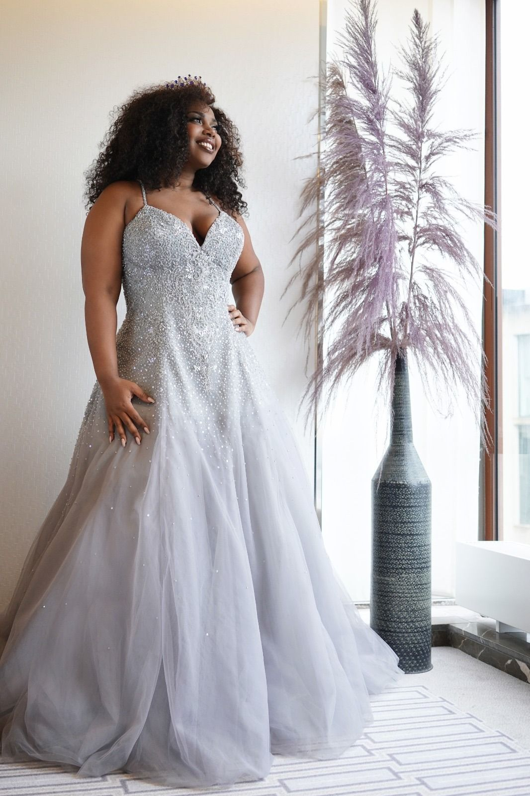 Gorgeous Plus Size Wedding Dress In Color Platinum Grey Worn By Curvy Mosa Nena Representing Curacao [ 1599 x 1066 Pixel ]