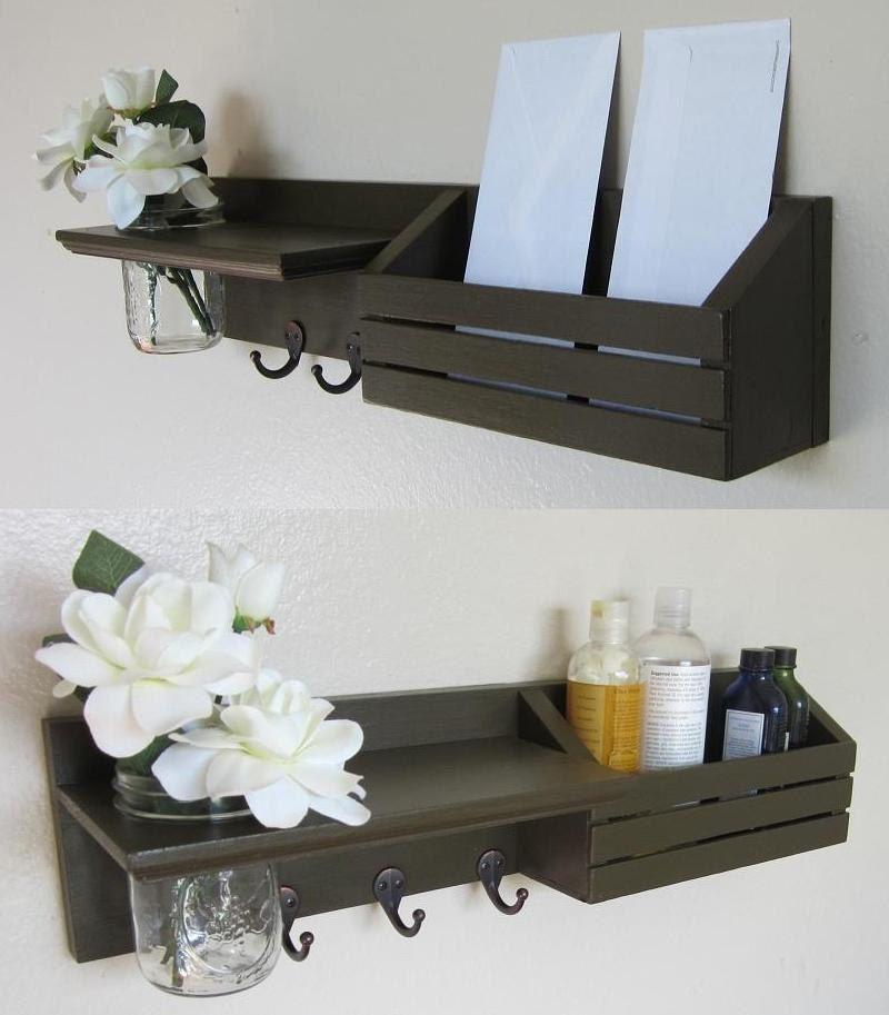 shabby chic nautical beach cottage flower vase key ring large mail holder organizer shelf coat. Black Bedroom Furniture Sets. Home Design Ideas
