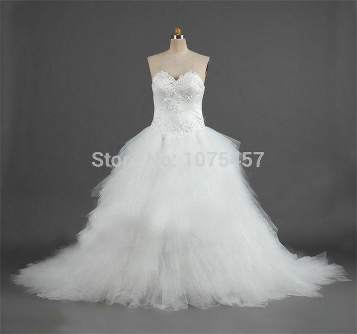 Latest Design Ball Gown Wedding Dress Luxury 2015 Sweetheart Beaded ...