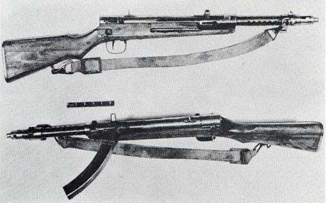 The Type 100 was a Japanese submachine gun designed in 1940 by Nambu Arms Manufacturing Company.