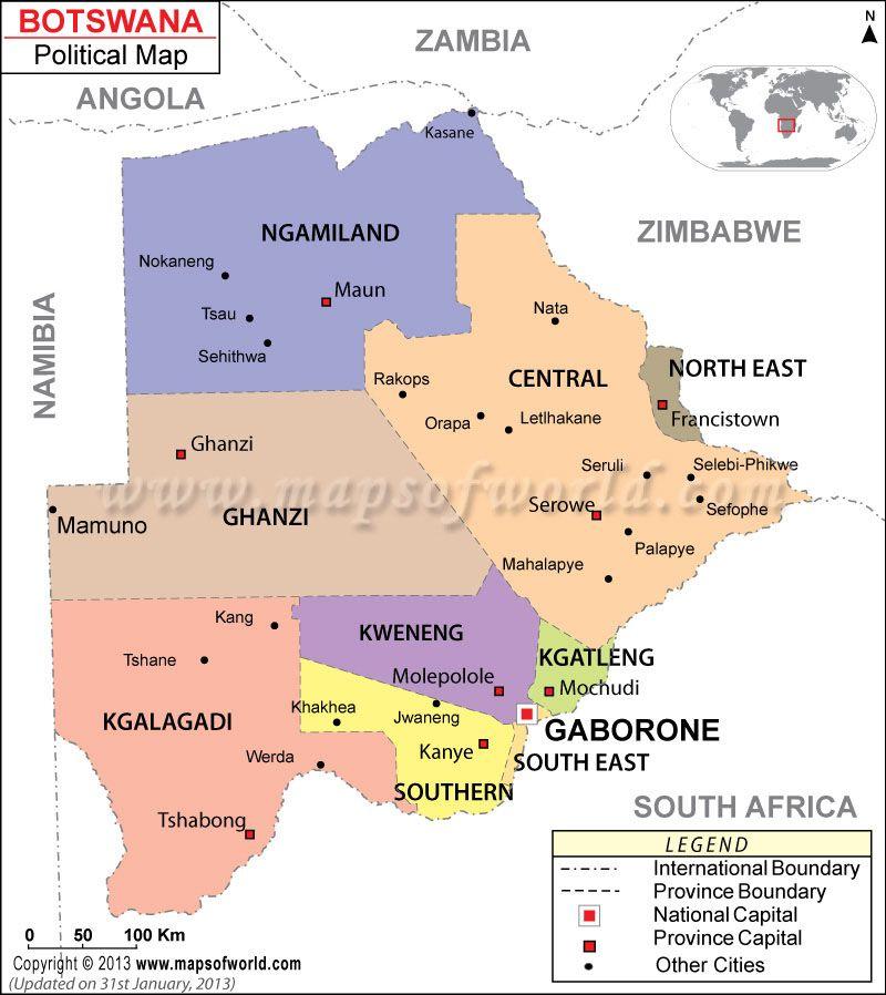 BOTSWANA: 9 distritos. Capital: ciudad de Gaborone. | Maps
