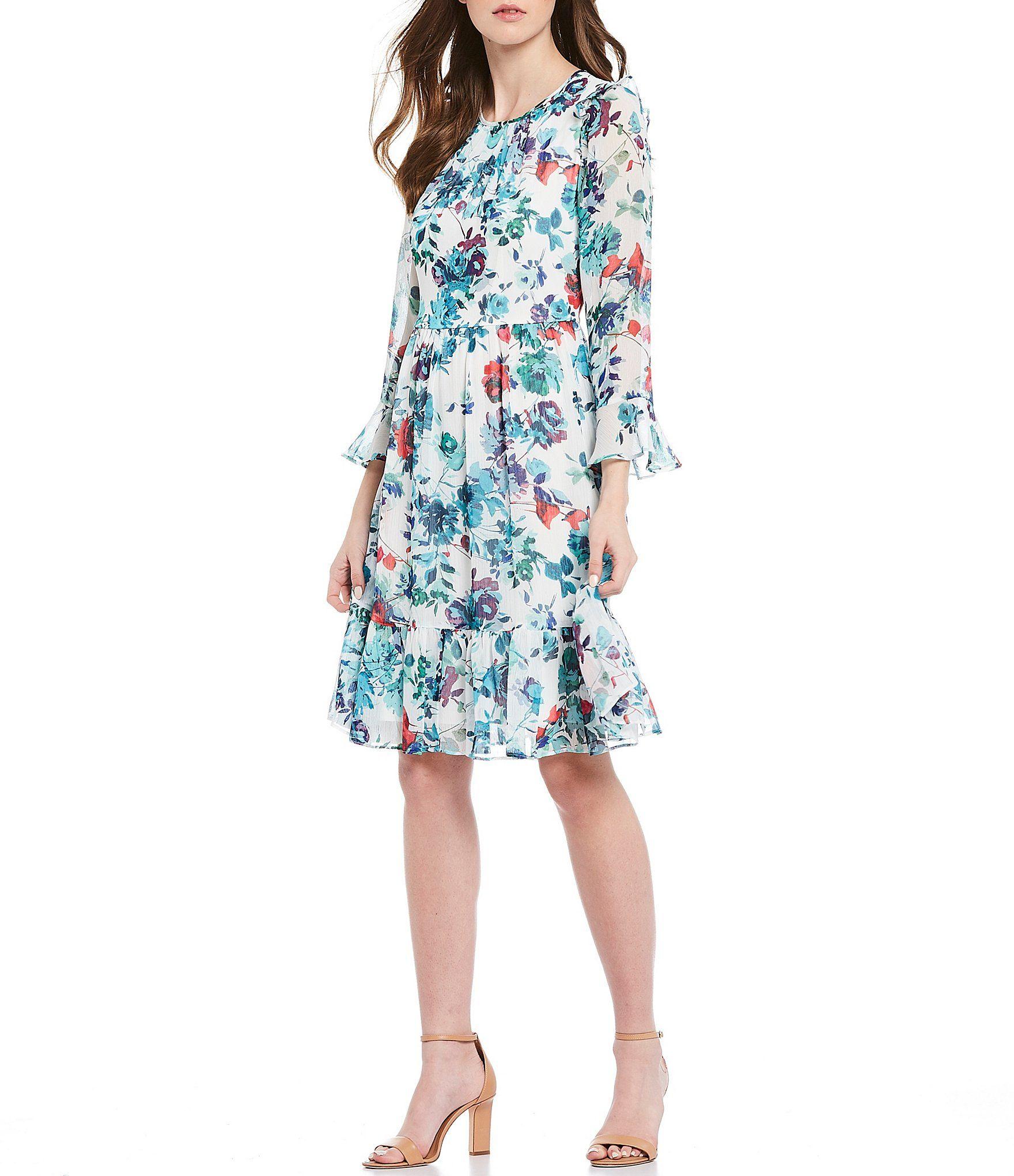 Calvin Klein 34 Bell Sleeve Flounce Hem Floral Print Chiffon Dress - 16