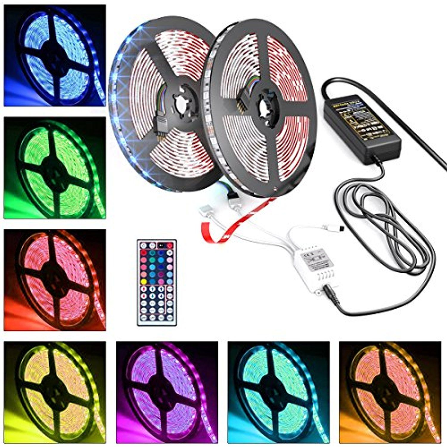 Blisso 2018New LED Strip Lights Kit âu20acu201c 32.8ft 300 LEDs SMD 5050 RGB LightExtra Adhesive 3M Tape with 44 Key Remote Controller Flexible Changing ...  sc 1 st  Pinterest & Blisso 2018New LED Strip Lights Kit âu20acu201c 32.8ft 300 LEDs SMD 5050 RGB ...