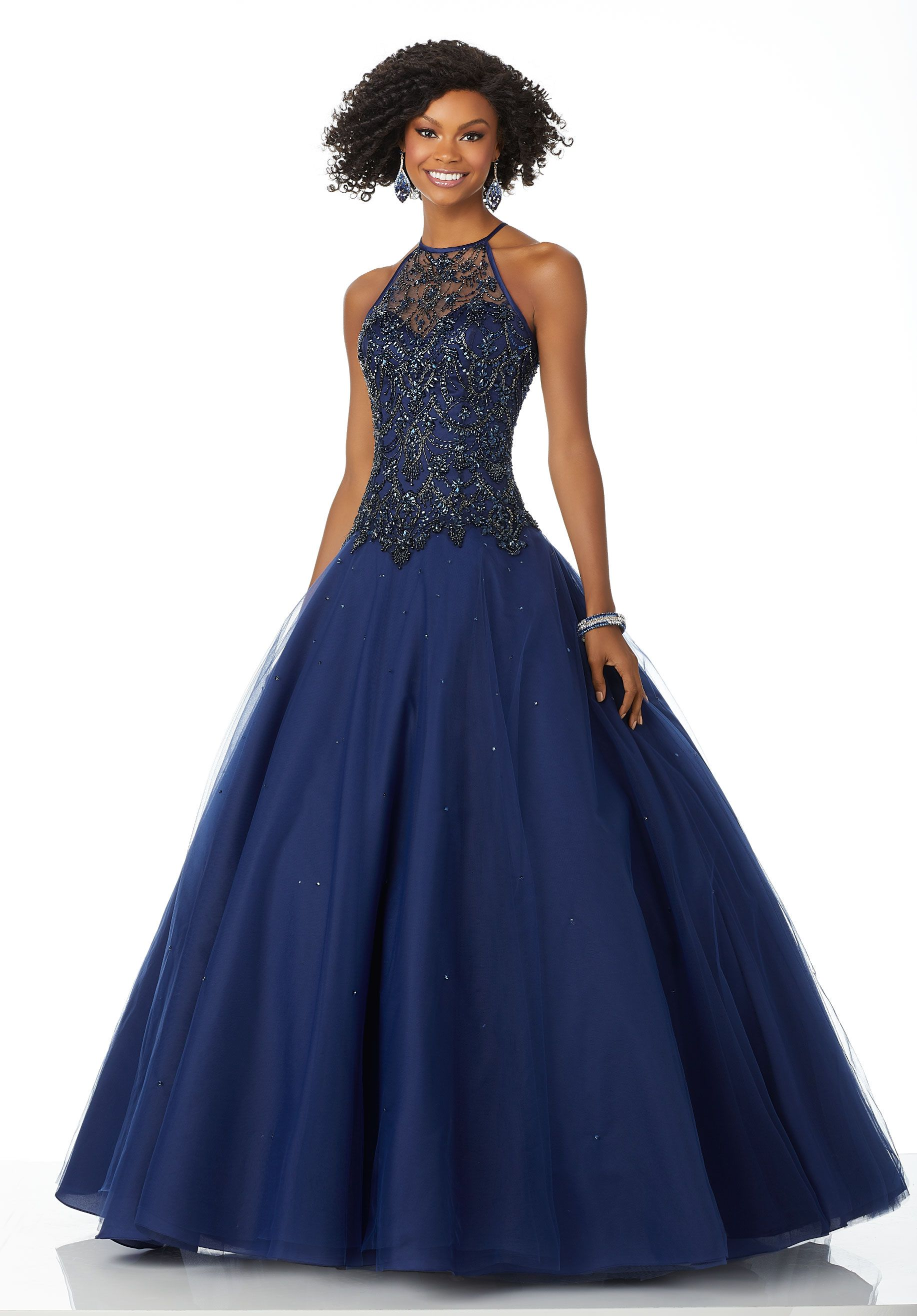 Dropped Waist Tulle Ballgown Featuring a Tonal Beaded