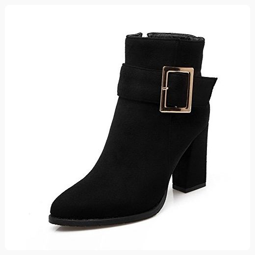 Women's High-Heels Pointed Closed Toe Imitated Suede Low-Top Solid Zipper Boots Gray-Buckle 39