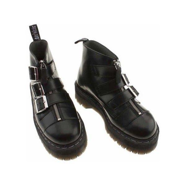 Dr Martens Agyness Deyn 3 Strap Ankbt 5 Uk Black Leather (€100) found on Polyvore