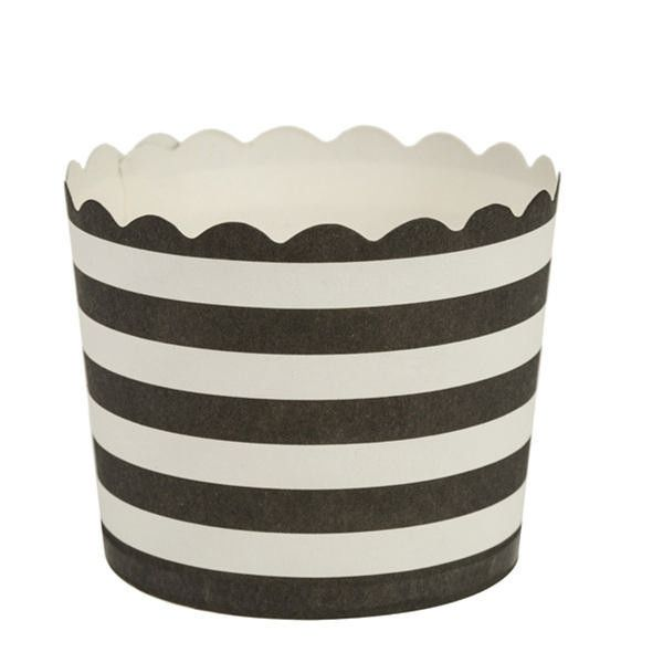 Simcha Collection Black Stripe Cupcake Wrappers Large/Case of 384