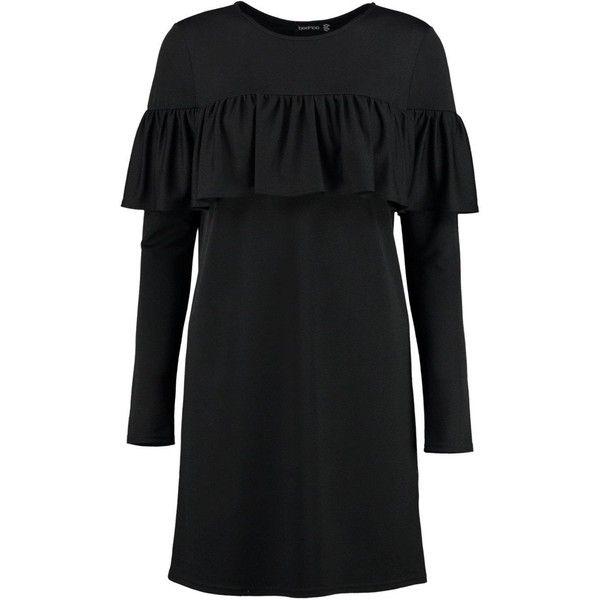 Boohoo Coralie Ruffle Long Sleeved Shift Dress   Boohoo (1.660 RUB) ❤ liked on Polyvore featuring dresses, boohoo dresses, ruffle dress, longsleeve dress, frilled dress and flounce dress