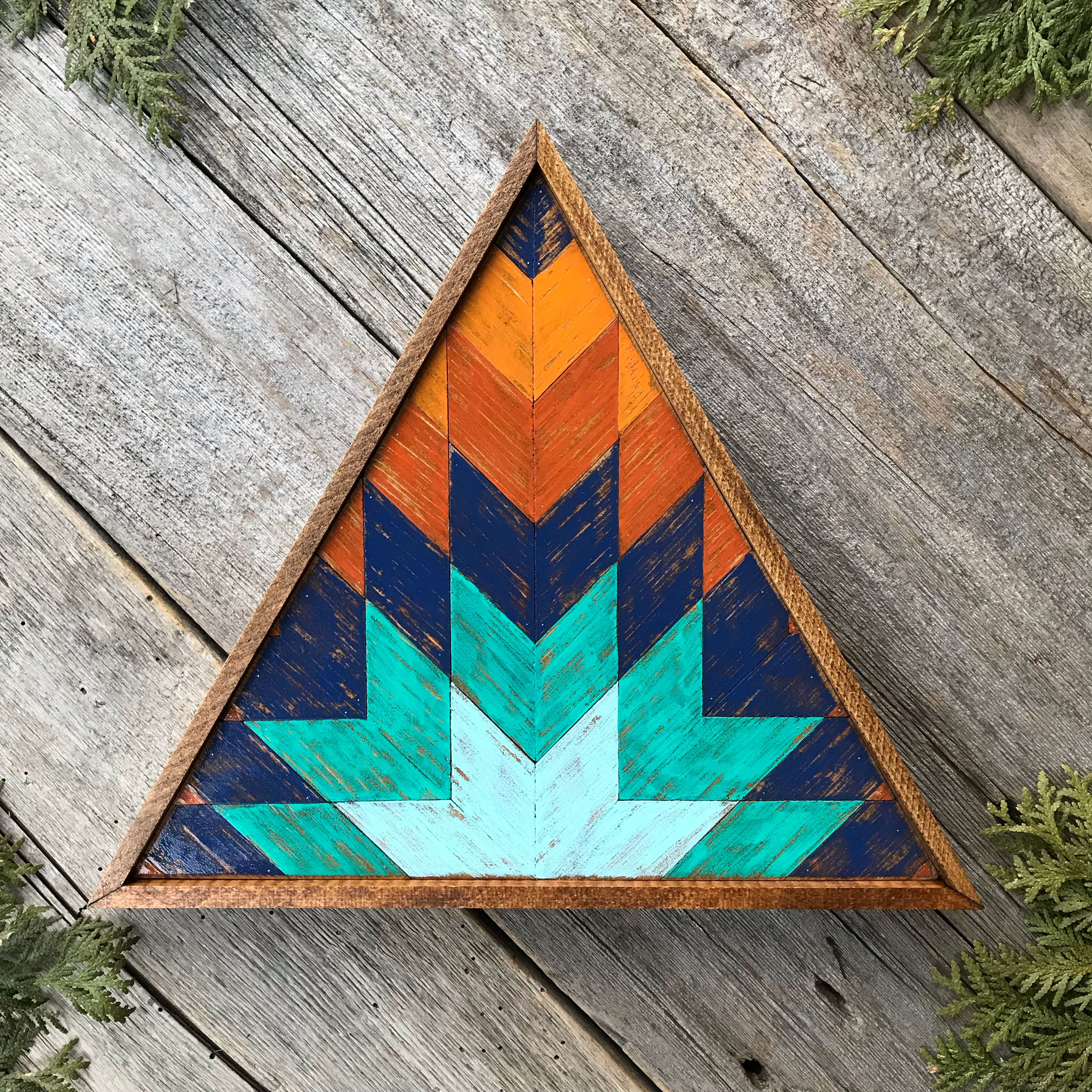 Handcrafted Triangle Wood Wall Art Featuring A Southwestern Style Geometric Pattern Easily Add Charm In 2020 Southwestern Wall Decor Wood Wall Art Wooden Wall Decor