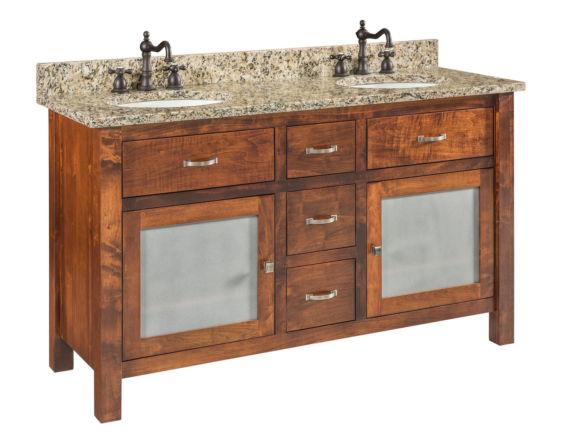 Quick Ship Stanford Large Brown Maple Free Standing Solid Wood